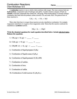 combustion reactions chem worksheet   answers fill