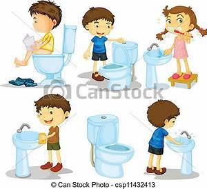 Vector Clip Art of kids and bathroom accessories ...