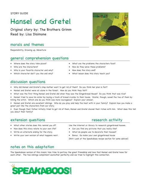 lesson plans hansel  gretel speakaboos worksheets