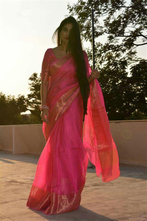 Harga Sari Gold pink sari with gold border classic fashion saree