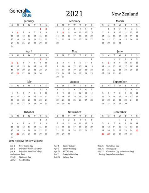 calendar  zealand  holidays
