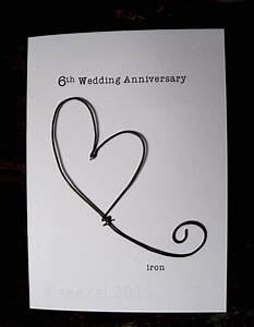 6th wedding anniversary keepsake card iron wire heart 6 years With traditional gift for 6th wedding anniversary
