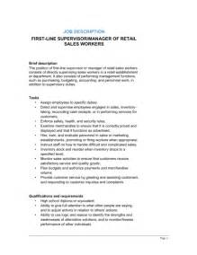retail supervisor description resume retail descriptions 2016 recentresumes