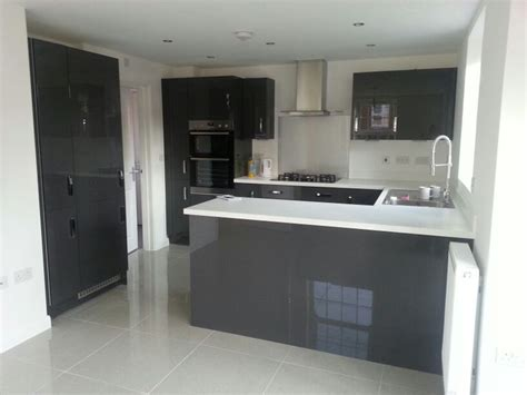 Kitchen Floor Units by Charcoal Grey Gloss Kitchen Units White Worktops And Grey