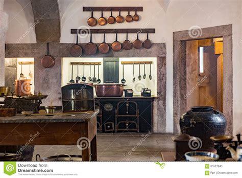 medieval castle kitchen  equipment stock image