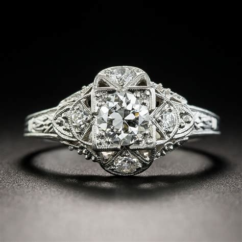 art deco platinum 45 carat diamond engagement ring
