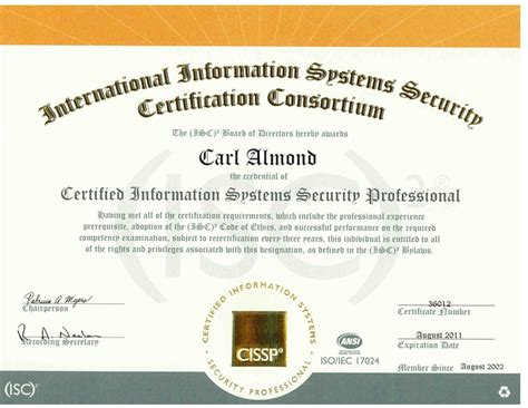 Cissp Resume Requirements by Resume Of Carl H Almond Jr