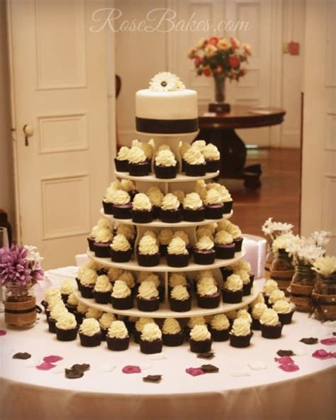 black white purple wedding cake  cupcake tower