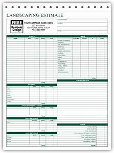 Free Contract Templates For Word Free Landscaping Estimate Forms Request A Free Sample Of