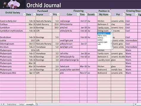 orchid journal excel   template house plants log