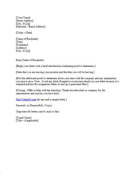resignation letter template  vertexcom
