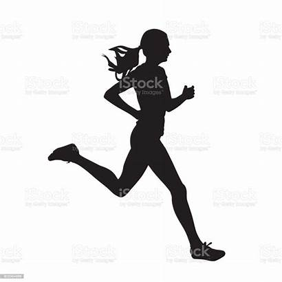 Running Silhouette Woman Run Vector Side Young