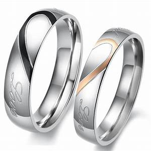 couple love heart stainless steel comfort fit wedding With promise wedding ring