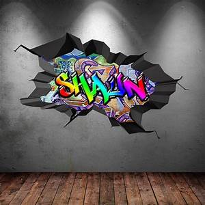 graffiti personnalise personnalise nom art mural stickers With markise balkon mit graffiti tapete online shop