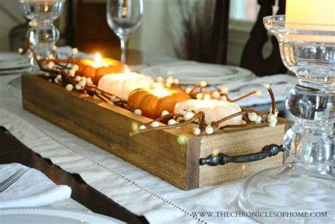 easy wooden tray centerpiece pumpkins  month  wood