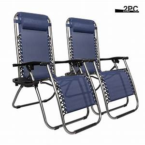 Zero, Gravity, Camping, Chair, Set, Of, 2, Folding, Patio, Chairs, Outdoor, Lounge, Chairs, With, Cup, Holder