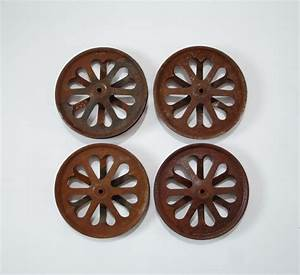 vintage rusty metal pulley wheels with heart cutouts With barn door pulley wheels