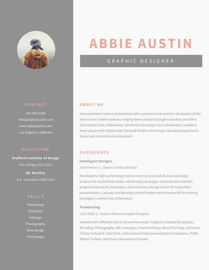 Graphic Design Resume Template by Gray Sidebar Graphic Design Resume Templates By Canva
