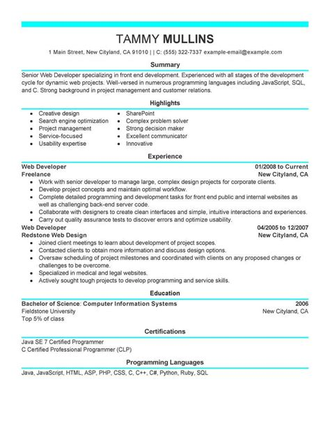 Best Resume Exle by Professional Summary For Sql Developer The Best