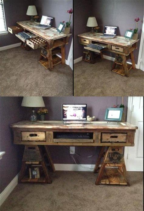 wood pallet desk diy pallet wood distressed table computer desk 101 pallets