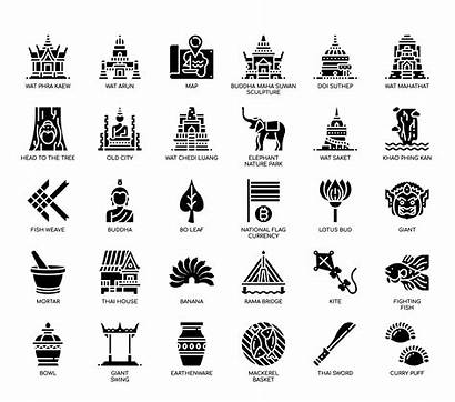 Thailand Symbols Glyph Icons Related Vector Clipart