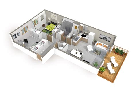 maison 2 chambres plan de maison 3d onetosix
