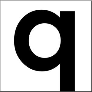 Clip Art: Alphabet Set 00: Q Lower Case BW I abcteach.com ...