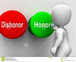 Dishonor Honor Buttons Shows Integrity And Morals Stock ...