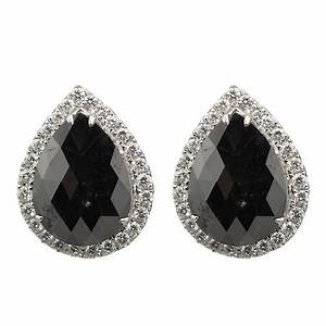 Pear Shaped Black Diamond Earrings with Halo - 154247 ...