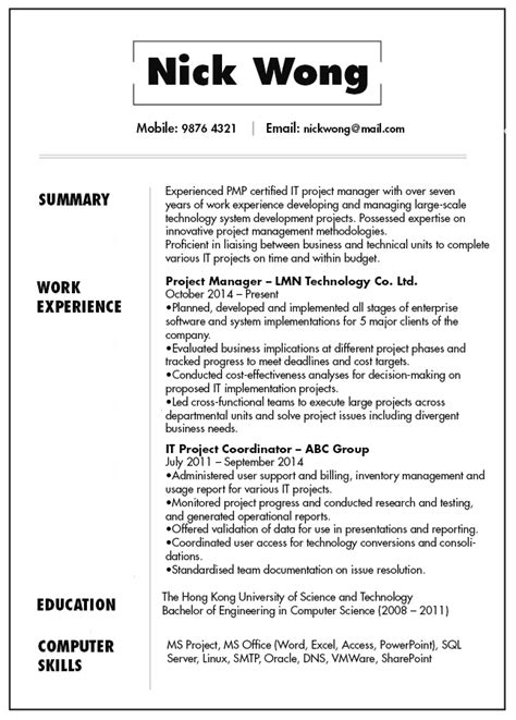 An Exle Of A Written Cv by Resume Cv Sle For It Project Manager Jobsdb Hong Kong