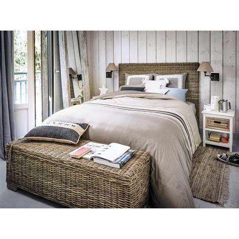 Lit bois massif design fabriqué en europe house and garden. Tête de lit en rotin Kubu et mahogany massif L 160 cm Key West | Maisons du Monde