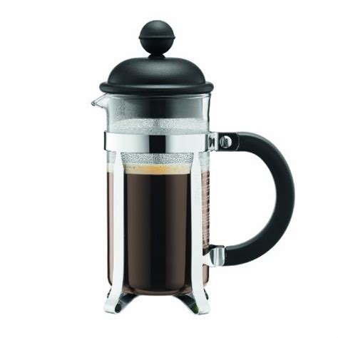 Coffee Consumers   Bodum Caffettiera French Press Coffee Maker, Black Plastic Lid and Stainless