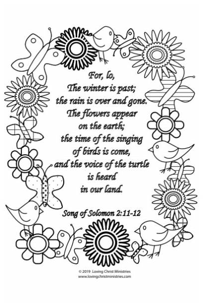 Solomon Song Coloring Spring Christ Flowers