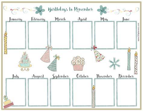 birthday list template free birthday calendar customize print at home