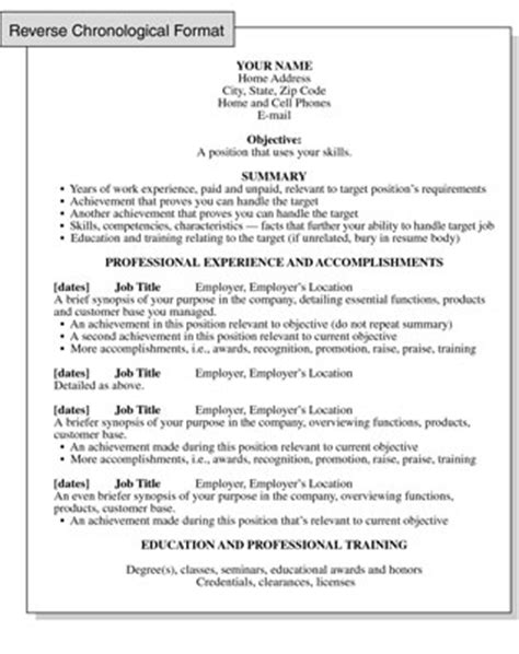 chronological resume format focusing on work