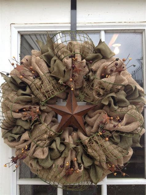 burlap wreath primitive wreath americana