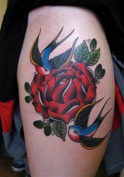 school flower sparrow tattoo  lucky  tattoos
