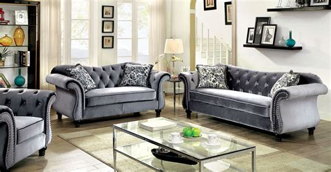 tufted loveseat gray jolanda collection gray flannelette button tufted
