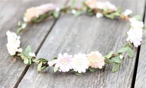 Wedding Accessories For Girls : Blush Ivory Peach Flower Crown Green Garland Wedding