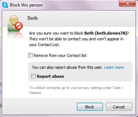 how to unblock a phone how do i block or report a contact in skype for windows