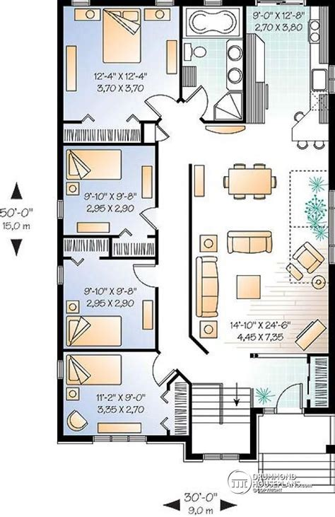 three bedroom cottage house plan 262 best images about three or more bedroom apatrments on