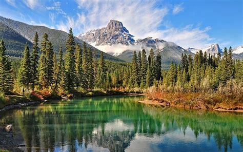 montana arbol nube paisaje lago reflexion rio roca hd