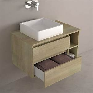 meuble de salle de bain clair avec tiroirs With salle de bain design avec vasque à poser 80 cm