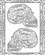 Coloring Sugar Skulls Skull Icolor sketch template