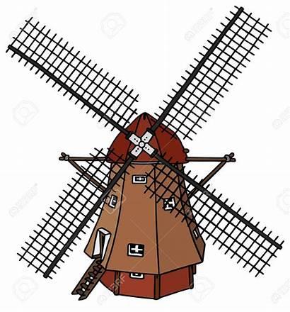 Windmill Dutch Clipart Windmolen Wind Drawing Mill
