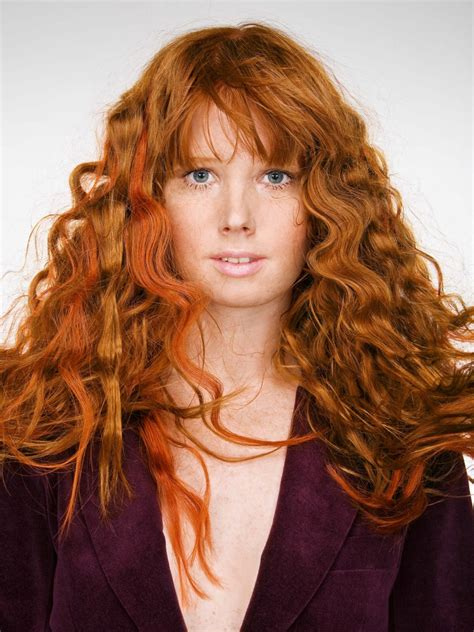 long red hair with large pressed waves long red hair with large pressed waves