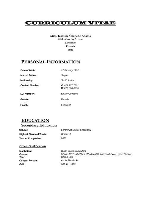 How To Write A Curriculum Vitae Format by Curriculum Vitae Sle Pdf Kenya