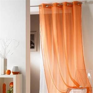 Rideau Double Voilage : voilage 140 x h240 cm tulipe double orange voilage eminza ~ Teatrodelosmanantiales.com Idées de Décoration
