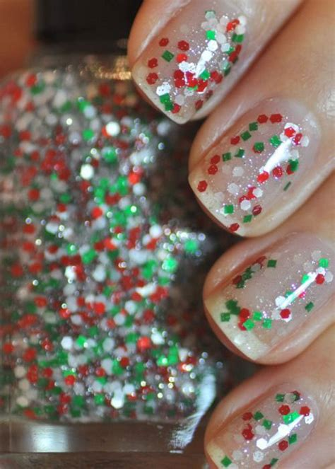 christmas glitter silver nail art designs ideas