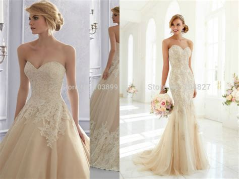 Sweetheart Mermaid Wedding Dresses Champagne With Lace